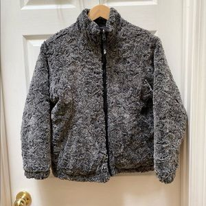 North face gray for black puffer reversible jacket